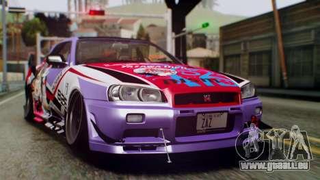 Nissan Skyline R34 Stance Nico Yazawa Itasha pour GTA San Andreas sur la vue arrière gauche