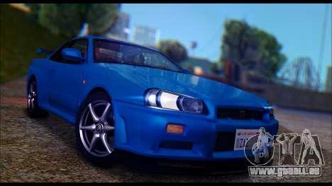Nissan Skyline R-34 GT-R V-spec 1999 Tunable pour GTA San Andreas laissé vue