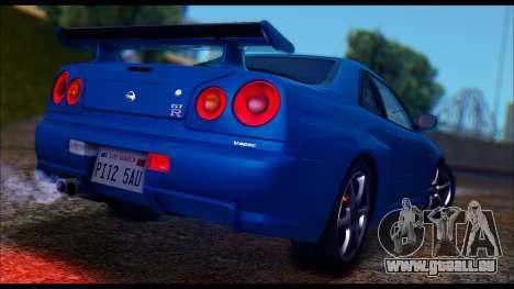 Nissan Skyline R-34 GT-R V-spec 1999 Tunable pour GTA San Andreas sur la vue arrière gauche