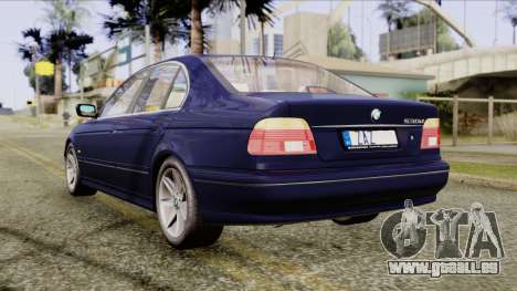 BMW 530D E39 2001 Stock für GTA San Andreas zurück linke Ansicht