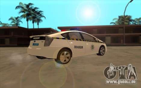 Toyota Prius Police De L'Ukraine pour GTA San Andreas vue arrière