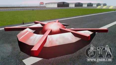 Alien Ship Red-Gray für GTA San Andreas linke Ansicht