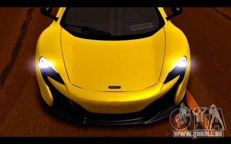 McLaren 650S Coupe pour GTA San Andreas vue de dessous