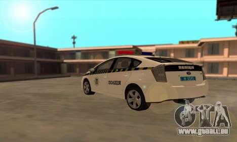 Toyota Prius Police De L'Ukraine pour GTA San Andreas sur la vue arrière gauche
