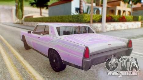 GTA 5 Vapid Chino Tunable PJ pour GTA San Andreas vue de dessus