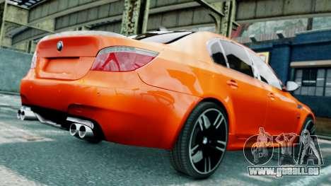 BMW M5 E60 pour GTA 4 est une vue de dessous
