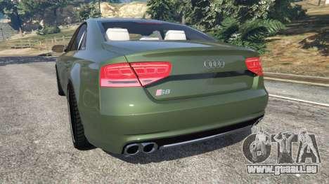 GTA 5 Audi S8 Quattro 2013 v1.2 arrière vue latérale gauche