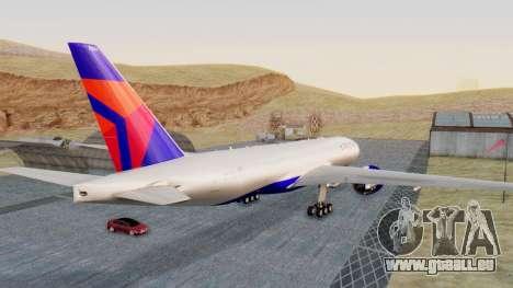 Boeing 777-200LR Delta Air Lines für GTA San Andreas zurück linke Ansicht