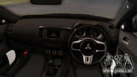 Mitsubishi Lancer Evolution X Stance für GTA San Andreas Rückansicht