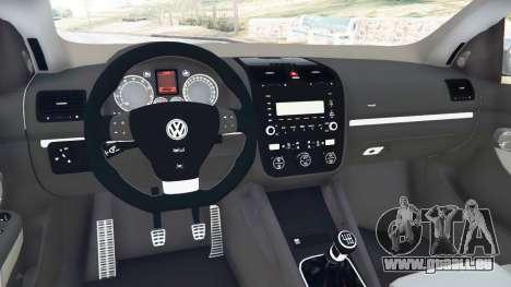 GTA 5 Volkswagen Golf Mk5 GTI 2006 v1.0 arrière droit vue de côté