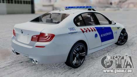 BMW M5 F10 Hungarian Police Car pour GTA San Andreas laissé vue