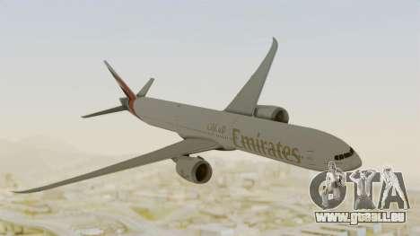 Boeing 777-9x Emirates Airlines pour GTA San Andreas sur la vue arrière gauche