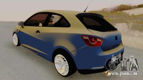 Seat Ibiza pour GTA San Andreas sur la vue arrière gauche