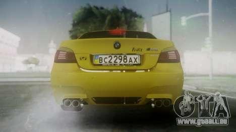 BMW m5 e60 Gold pour GTA San Andreas sur la vue arrière gauche