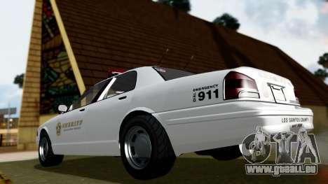 GTA 5 Vapid Stanier II Sheriff Cruiser für GTA San Andreas zurück linke Ansicht