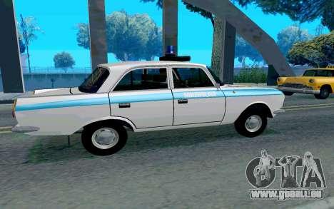 Moskvitch 412 Police pour GTA San Andreas sur la vue arrière gauche