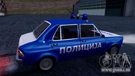 Zastava 101 Policija pour GTA San Andreas sur la vue arrière gauche