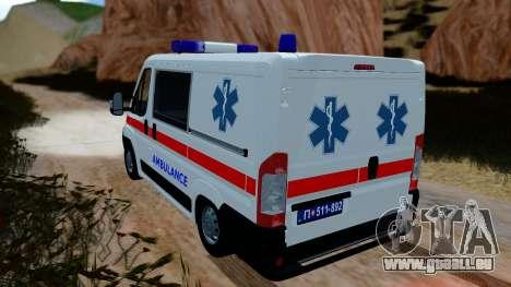 Fiat Ducato Serbian Ambulance pour GTA San Andreas laissé vue
