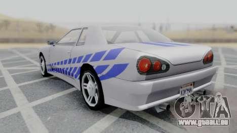 Elegy 2F2F Skyline PJ pour GTA San Andreas sur la vue arrière gauche