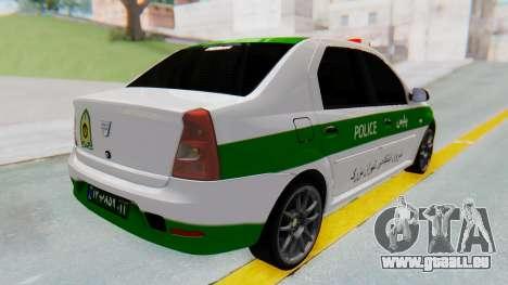 Dacia Logan Iranian Police Naja pour GTA San Andreas sur la vue arrière gauche