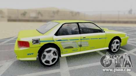 Sultan 2F2F Evo PJ pour GTA San Andreas sur la vue arrière gauche