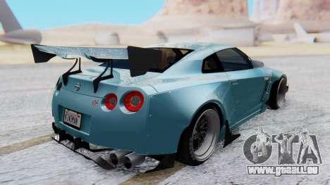 Nissan GT-R R35 Rocket Bunny v2 pour GTA San Andreas sur la vue arrière gauche