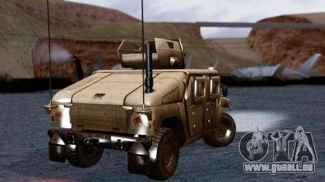 HUMVEE M1114 Desert für GTA San Andreas zurück linke Ansicht