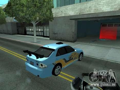Toyota Altezza Tunable für GTA San Andreas obere Ansicht