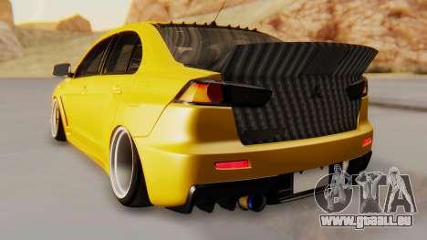 Mitsubishi Lancer Evolution X Stance für GTA San Andreas zurück linke Ansicht