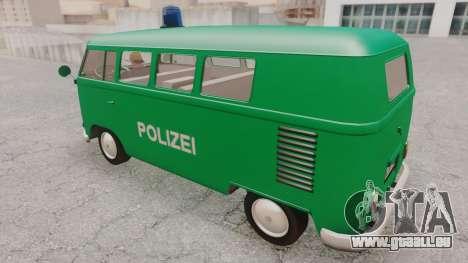Volkswagen T1 Polizei pour GTA San Andreas sur la vue arrière gauche