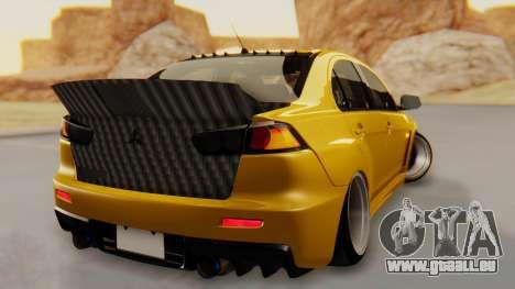 Mitsubishi Lancer Evolution X Stance für GTA San Andreas linke Ansicht