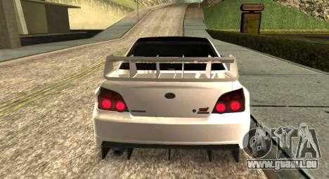Subaru Impreza WRX STi 2007 pour GTA San Andreas sur la vue arrière gauche