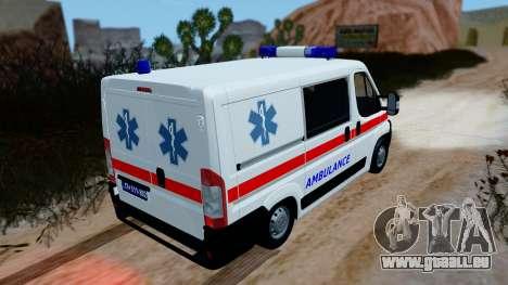 Fiat Ducato Serbian Ambulance pour GTA San Andreas sur la vue arrière gauche