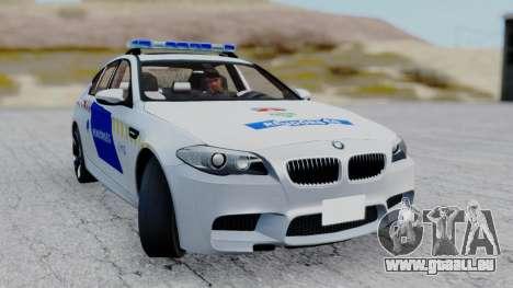 BMW M5 F10 Hungarian Police Car für GTA San Andreas Rückansicht