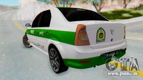 Dacia Logan Iranian Police Naja pour GTA San Andreas laissé vue