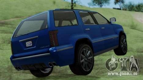 GTA 5 Albany Cavalcade v2 IVF pour GTA San Andreas sur la vue arrière gauche