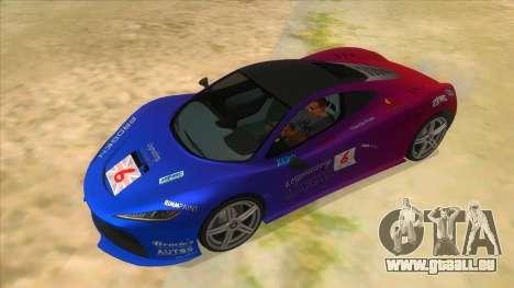 GTA 5 Progen T20 Lights version pour GTA San Andreas vue de dessus