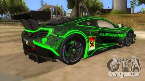 McLaren 650S GT3 Alien PJ pour GTA San Andreas vue de droite