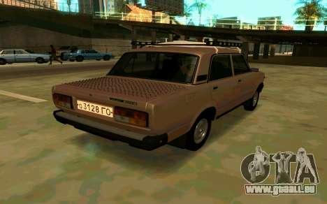 VAZ 2107 Hiver pour GTA San Andreas laissé vue