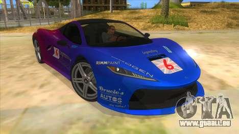 GTA 5 Progen T20 Styled version pour GTA San Andreas vue arrière