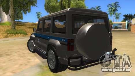 Benefactor Dubsta Jurassic World Security pour GTA San Andreas sur la vue arrière gauche