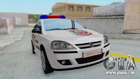 Opel Corsa C Policia pour GTA San Andreas vue de droite