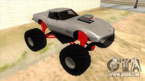 1968 Chevrolet Corvette Stingray Monster Truck pour GTA San Andreas vue arrière