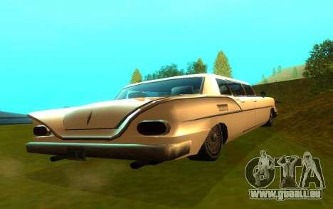 Tornado Limousine pour GTA San Andreas sur la vue arrière gauche