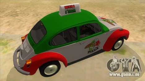 Volkswagen Beetle Pizza pour GTA San Andreas vue de droite