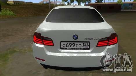 BMW 530XD F10 pour GTA San Andreas vue de droite