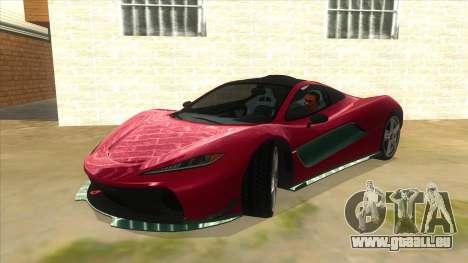GTA 5 Progen T20 Lights version pour GTA San Andreas vue de côté