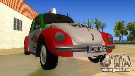 Volkswagen Beetle Pizza für GTA San Andreas Rückansicht