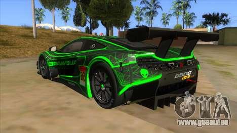 McLaren 650S GT3 Alien PJ pour GTA San Andreas sur la vue arrière gauche