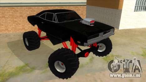 1969 Dodge Charger Monster Truck für GTA San Andreas Rückansicht